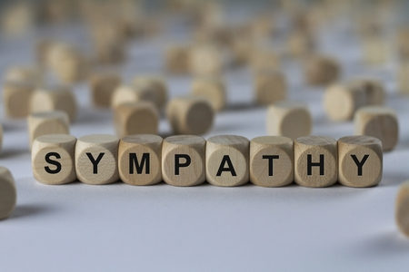 sympathy - cube with letters, sign with wooden cubes Stock Photo
