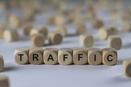 traffic - cube with letters, sign with wooden cubes
