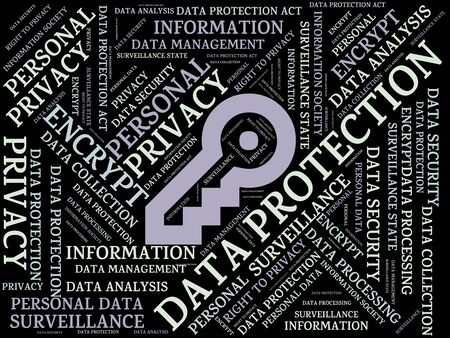- DATA PROTECTION - image with words associated with the topic DATA PROTECTION, word cloud, cube, letter, image, illustration