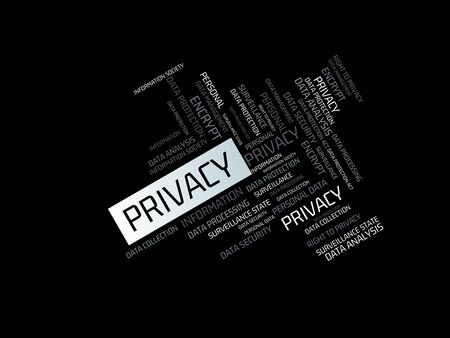 - PRIVACY - INTERNET - image with words associated with the topic DATA PROTECTION, word cloud, cube, letter, image, illustration