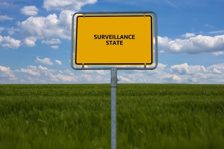 - SURVEILLANCE STATE - FREEDOM - image with words associated with the topic DATA PROTECTION, word cloud, cube, letter, image, illustration Stock Photo
