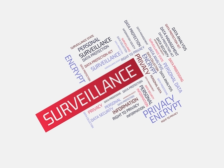 - SURVEILLANCE - FREEDOM - image with words associated with the topic DATA PROTECTION, word cloud, cube, letter, image, illustration