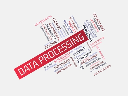 - DATA PROCESSING - image with words associated with the topic DATA PROTECTION, word cloud, cube, letter, image, illustration