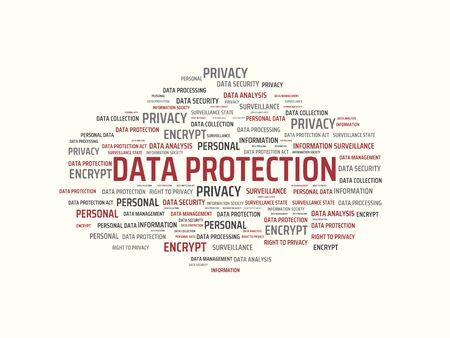 data protection act: - DATA PROTECTION - image with words associated with the topic DATA PROTECTION, word cloud, cube, letter, image, illustration