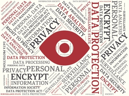 data protection act: Words associated with an eye icon