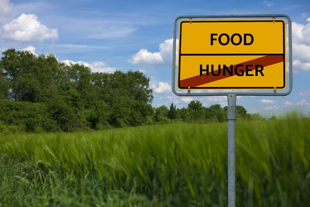 - HUNGER - FOOD - image with words FAMINE, wordcloud, cube, letter, image, illustration Stock Photo