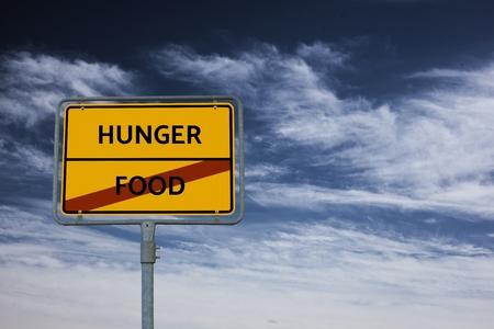 - HUNGER - FOOD - immagine con parole FAMINE, wordcloud, cubo, lettera, immagine, illustrazione