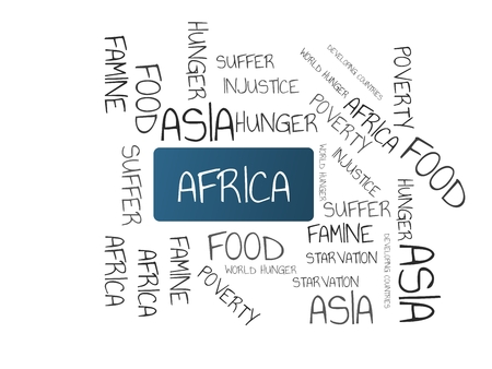 - AFRICA - image with words FAMINE, wordcloud, cube, letter, image, illustration