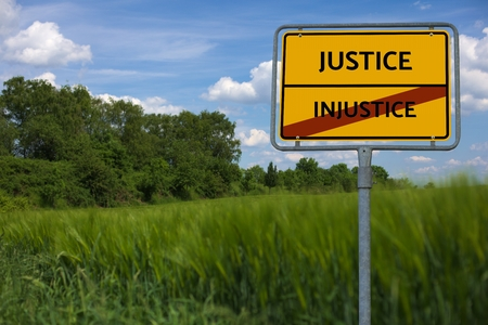 - INJUSTICE - JUSTICE - image with words FAMINE, wordcloud, cube, letter, image, illustration
