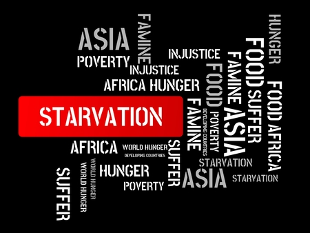 - STARTER - Image with words associated with the topic FAMINE, wordcloud, cube, letter, image, illustration