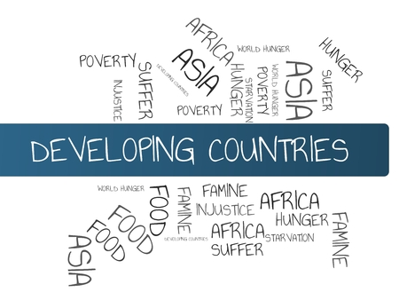 - DEVELOPING COUNTRIES - INDUSTRIAL COUNTRIES - image with words associated with the topic FAMINE, wordcloud, cube, letter, image, illustration Stock Photo