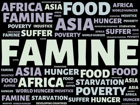 - FAMINE - immagine con parole FAMINE, wordcloud, cubo, lettera, immagine, illustrazione