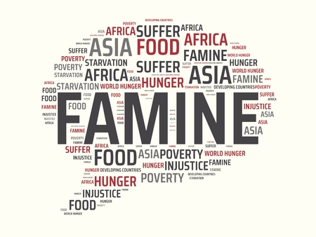 - FAMINE - image with words FAMINE, wordcloud, cube, letter, image, illustration