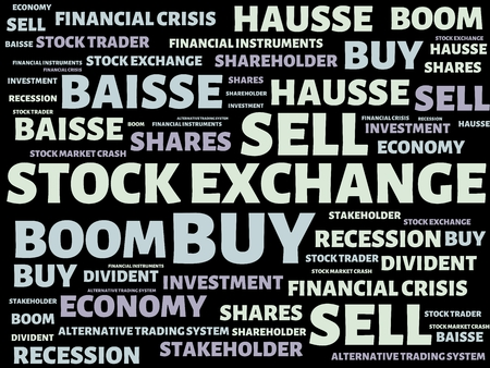 - STOCK EXCHANGE - image with words associated with the topic STOCK EXCHANGE, word cloud, cube, letter, image, illustration