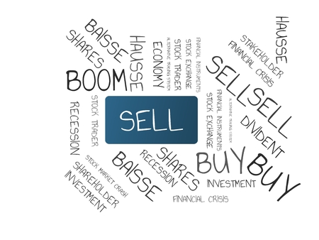 - SELL - image with words associated with the topic STOCK EXCHANGE, word cloud, cube, letter, image, illustration