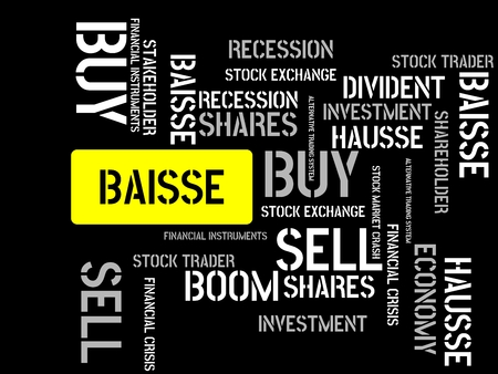 - BAISSE - image with words associated with the topic STOCK EXCHANGE, word cloud, cube, letter, image, illustration Stock Photo