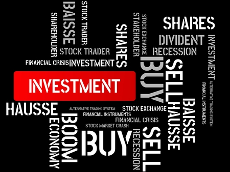 - INVESTMENT - SAVE UP - image with words associated with the topic STOCK EXCHANGE, word cloud, cube, letter, image, illustration Stock Photo