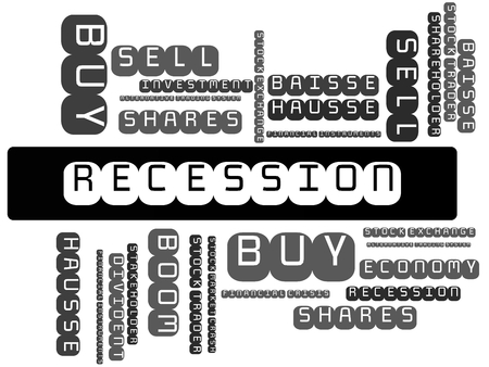 - RECESSION - BOOM - image with words associated with the topic STOCK EXCHANGE, word cloud, cube, letter, image, illustration