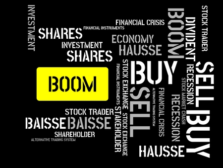 - BOOM - image with words associated with the topic STOCK EXCHANGE, word cloud, cube, letter, image, illustration