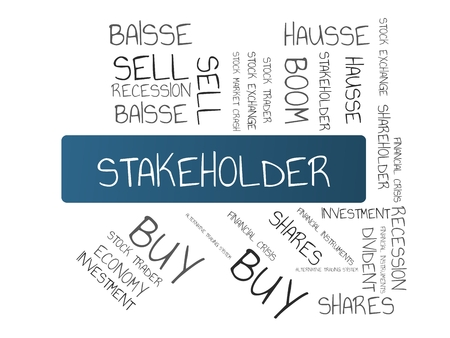 - STAKEHOLDER - image with words associated with the topic STOCK EXCHANGE, word cloud, cube, letter, image, illustration
