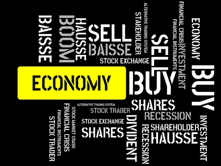 - ECONOMY - image with words associated with the topic STOCK EXCHANGE, word cloud, cube, letter, image, illustration Stock Photo