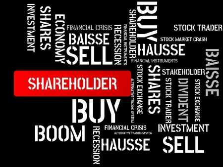 - SHAREHOLDER - image with words associated with the topic STOCK EXCHANGE, word cloud, cube, letter, image, illustration