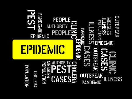 - EPIDEMIC - image with words associated with the topic EPIDEMIC, word cloud, cube, letter, image, illustration
