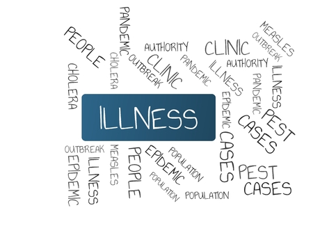 - ILLNESS - image with words associated with the topic EPIDEMIC, word cloud, cube, letter, image, illustration