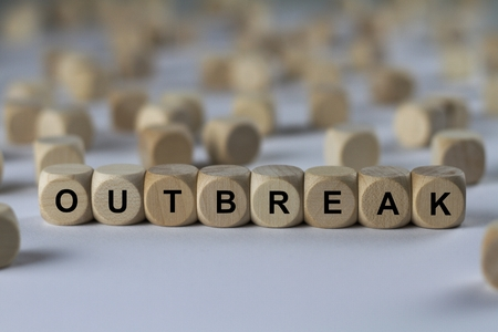 - OUTBREAK - image with words associated with the topic EPIDEMIC, word cloud, cube, letter, image, illustration