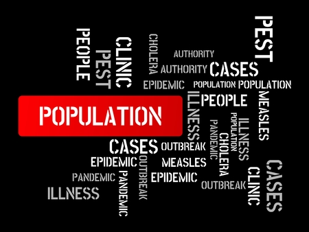 - POPULATION - image with words associated with the topic EPIDEMIC, word cloud, cube, letter, image, illustration