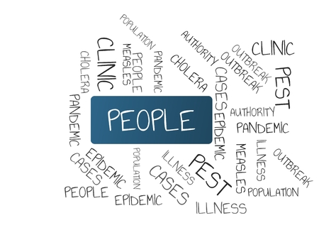 - PEOPLE - image with words associated with the topic EPIDEMIC, wordcloud, cube, letter, image, illustration Stock Photo
