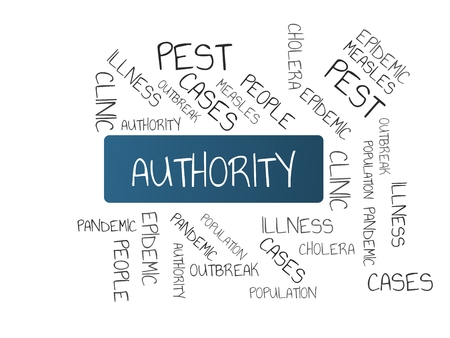 - AUTHORITY - image with words associated with the topic EPIDEMIC, wordcloud, cube, letter, image, illustration Stock Photo