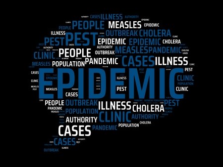 - EPIDEMIC - image with words associated with the topic EPIDEMIC, wordcloud, cube, letter, image, illustration Stock Photo