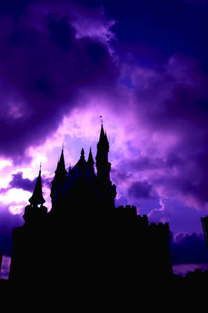 disney: Silhouette of a Castle Stock Photo