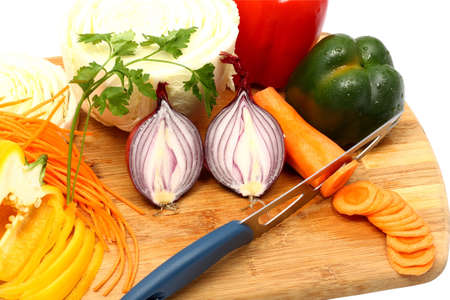Natyurmot of different vegetables on a chopping board Stock Photo