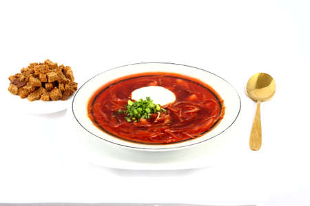 meatless: Meatless Ukrainian borsch with mushrooms and beans and sour cream