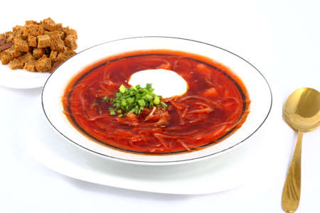 Meatless Ukrainian borsch with mushrooms and beans and sour cream