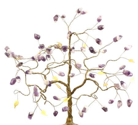 árbol que generan buena suerte y felicidad con los colores de la hoja de oro y amatista  Foto de archivo - 7645187