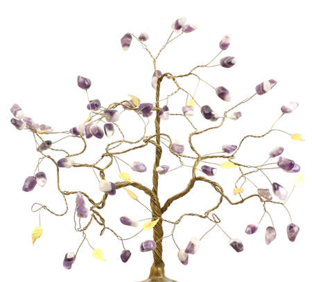 yielding: tree yielding good luck and happiness with the colors of amethyst and gold leaf