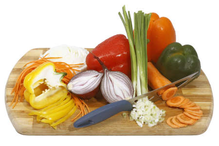 vegetable still life on the wooden board isolated on white background