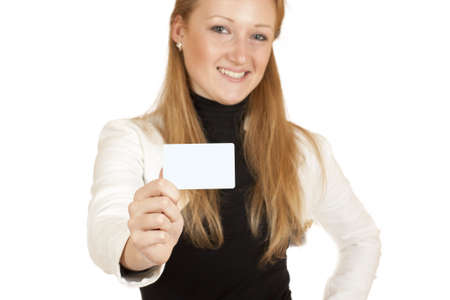 blonde girl with a business card in hand isolated on white background