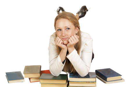 Girl with a book about something dreams isolated on a white background