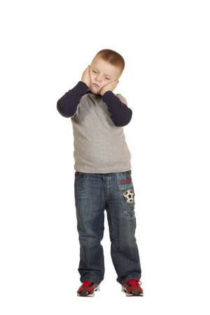 the little boy have a toothache, a portrait isolated on white background  Stock Photo