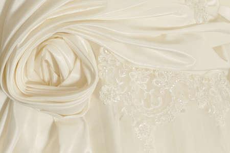 piece wedding dress of cream silk fabric