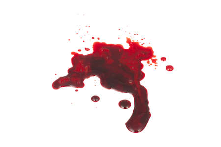 isolated spot of blood on a white background photo