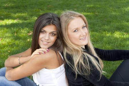 Blonde and brunette girlfriend photo