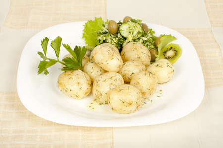 Early potatoes cooked with salad on the plate Stock Photo - 13625157