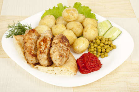 grilled kebab on pita with early boiled potatoes photo