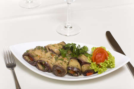 appetizer - fried eggplant rolls on a plate closeup Stock Photo