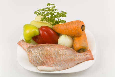 grouper purified without head with raw vegetables Stock Photo - 15789349